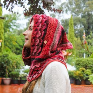Shades of Pink Silk-Blend Marte Hood - on model from side