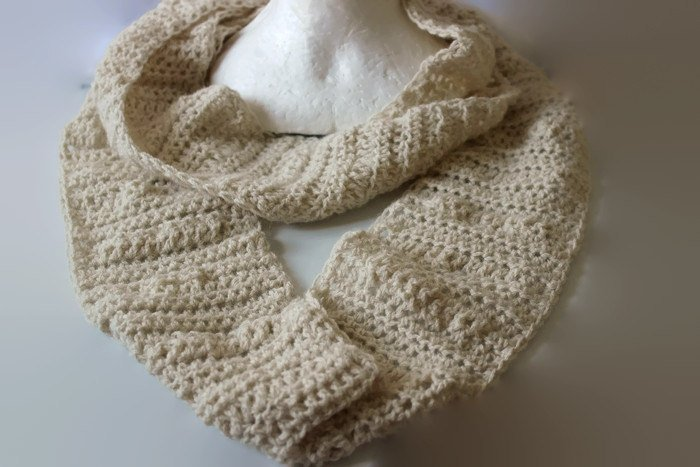 Cream Infinity Scarf, Crochet Scarf