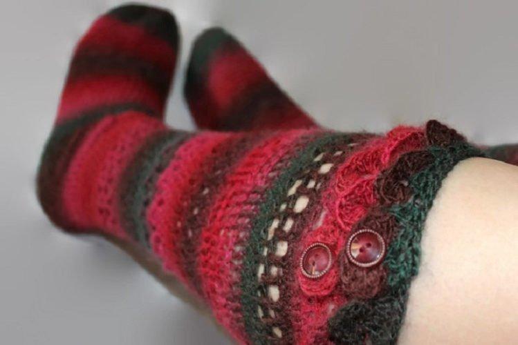 Ladies Sampler Socks - Knee-hi, textured