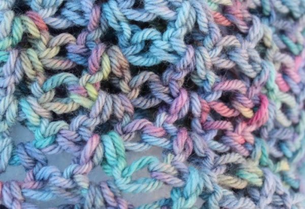 Ladies Set Crochet Cowl Scarf Neckwarmer and fingerless gloves Hand dyed Merino Wool blue pink aqua very soft warm V stitch Gift for her RTS