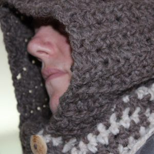 Warm Winter Brown Cream chunky HOODED COWL Neckwarmer