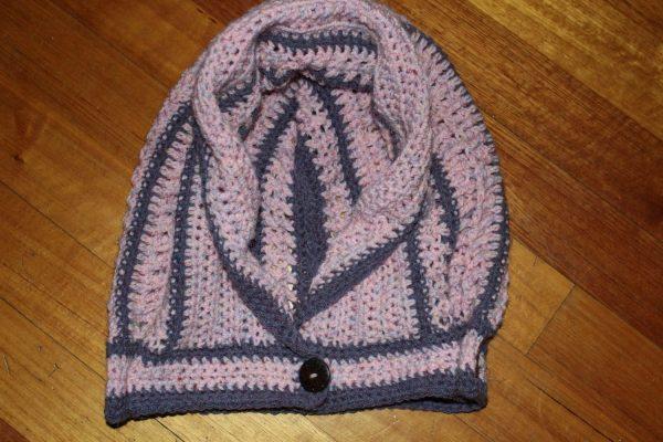 Women's Fashion. Designer Textured crochet hood. Elf or Fantasy hood Lothorian Hood. 2 colours. Tudor Rose Pink Purple Heather Stripes. RTS