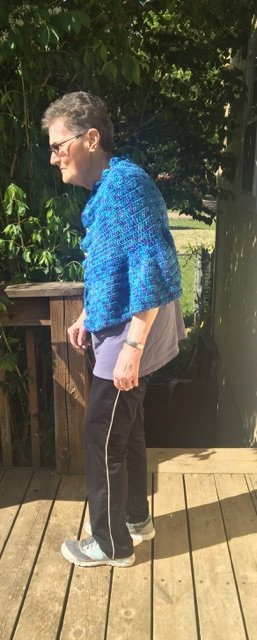 Pattern Tester Gina's Danube Cape (modeled by her Mum)