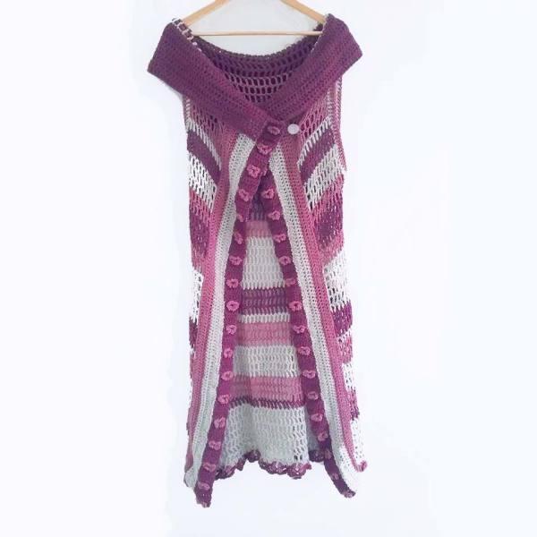 Tri-Color Orchid Vest Crochet Pattern, Orchid Vest Crochet-Along