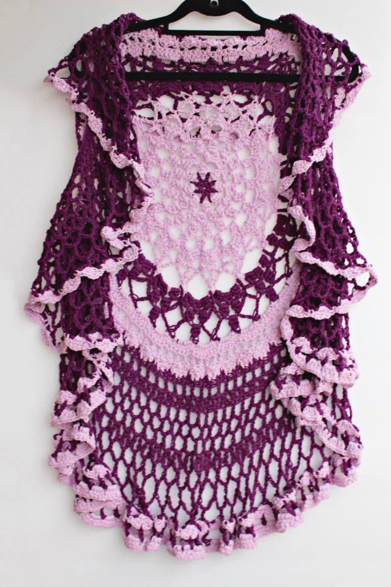 ardinal Purple & Mauve Lotus Mandala Vest