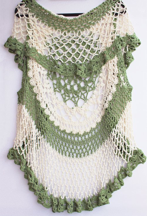 Kiwi green & cream Lotus Mandala Vest