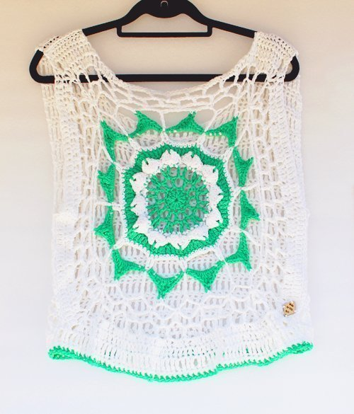 White and Green Mandala Cotton Top