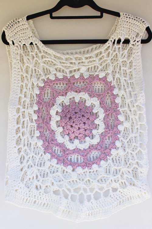 White and Lilac Mandala Cotton Top