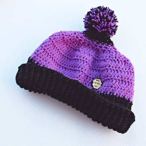 purple & black be smart beanie