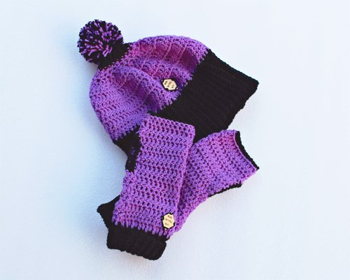purple & black be smart mitts and beanie