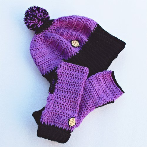purple & black be smart beanie and mitts