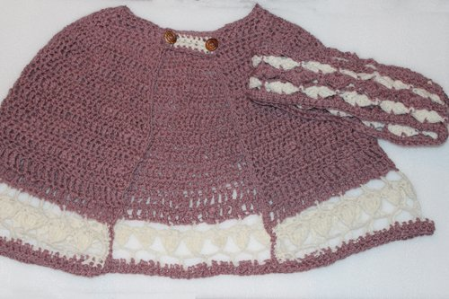Pink & White String Of Hearts Cape - with Fanfare Delight Cowl