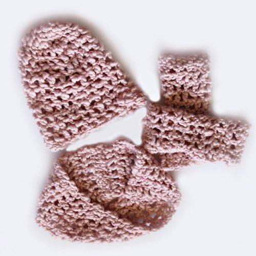 Ice Waffle Set - slouchy beanie, fingerless gloves, infinity scarf