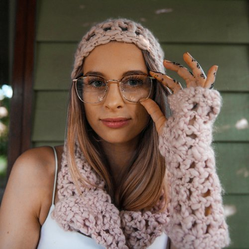 Ice Waffle Set - Slouchy Beanie, Fingerless Mitts, Infinity Scarf