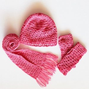 Pretty in Pink Set - beanie, mitts, scarf