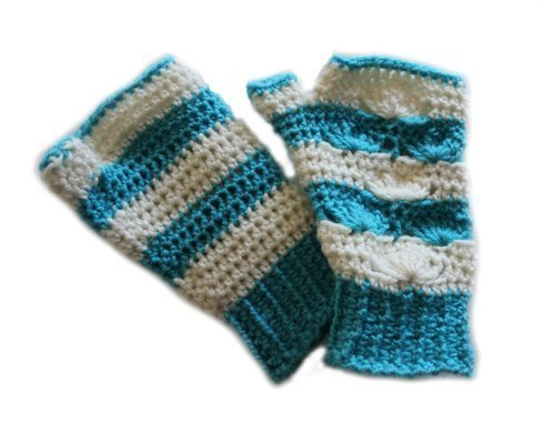 Shell B Mine Mitts - beautifully stylish and perfect for gifts or yourself - aqua & white - both sides