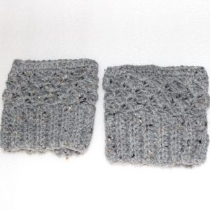 Grey boot cuff leg warmers lying flat