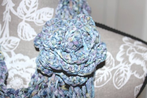 Batiko Scarf - Close up of rose brooch