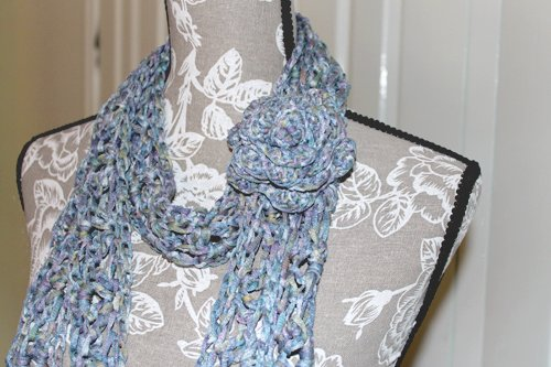 Batiko Scarf - Close up with rose brooch