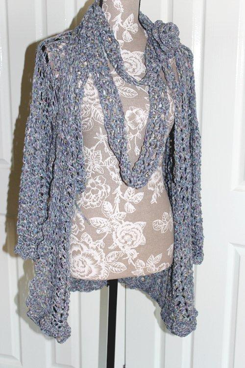 Batiko Sweater - Full length on dressmaking model with Batiko Scarf