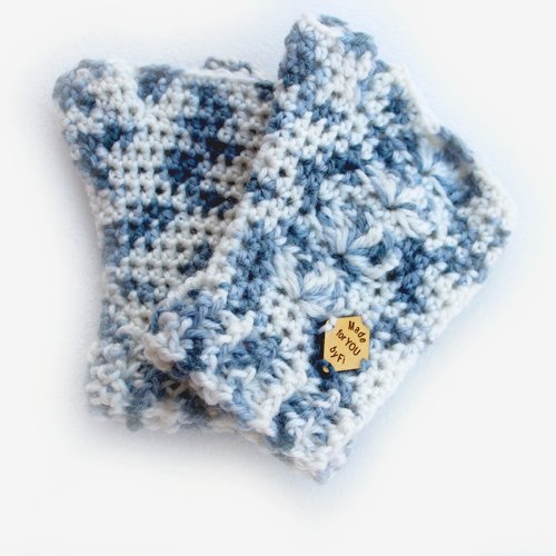 Dark Hand Dyed Blue & White Shell Mitts - Stacked
