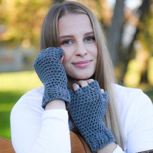 Denim Blue Finger Gloves - modeled - hands framing face 1