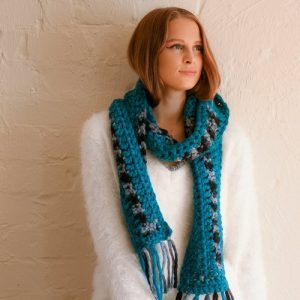 Every which way scarf - on model - Single loop around neck - correct colors