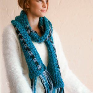 Every which way scarf - on model - Single loop around neck - correct colors Full length
