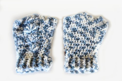 Dark Hand Dyed Blue & White Shell Mitts - Flat - Back & Front