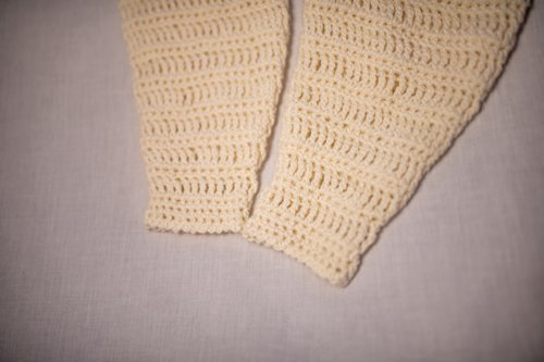 Bamboo Leg Warmers laid flat - bottom cuff up close 1