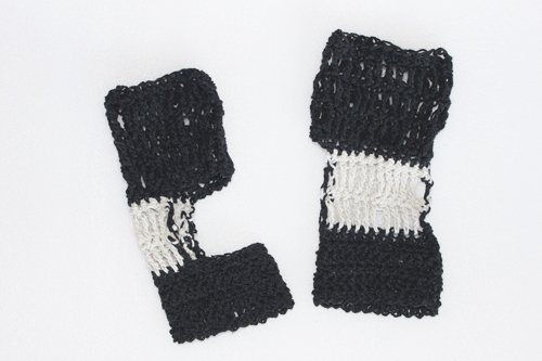 Black and Cream Exercise Socks - Large size in Recycled Vintage Denim