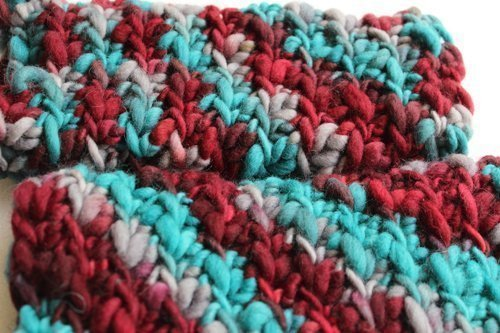 Chunky Leg Warmers in multi-colored merino. Turquoise & Burgundy spiral - close up
