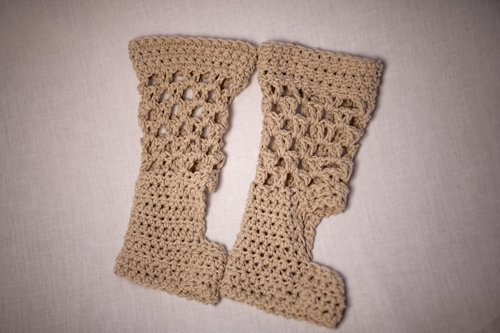 ExerLoopy Socks in Recycled Vintage Cream Denim - Laid flat side by side