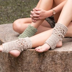 Exercise socks on women - one pair kiwi green and the other pair beige - 2