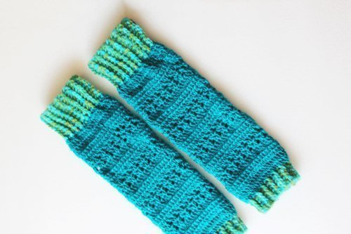 Turquoise Heartland Leg Warmers - Flat lay - full length on an angle