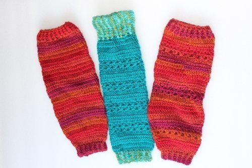 Turquoise & Sunset Heartland Leg Warmers - Flat lay - full length - 3 versions