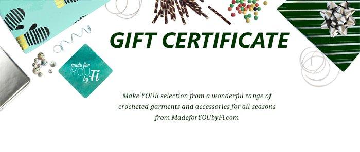MadeforYOUbyFi Christmas Gift Certificate - let HER select her gift