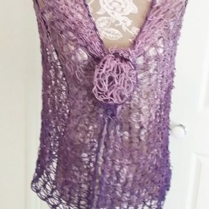Rectangled in Love Shawl - Full length - with ends wound together into a flower - available from MadeforYOUbyFi April 2021