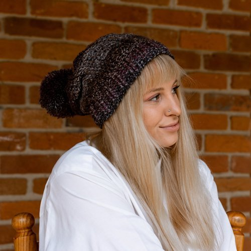 Bloomin' Comfy Beanie - With Pompom - cuff flat - on model from the side