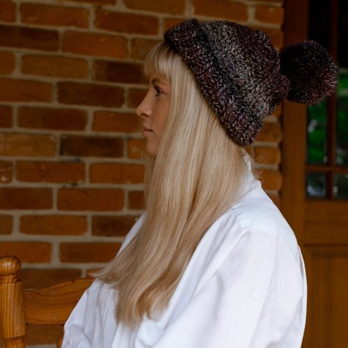 Bloomin' Comfy Beanie - With Pompom - cuff turned up - on model from the side