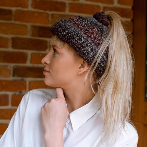 Bloomin' Comfy Bun Hat - cuff turned up - on model from the side