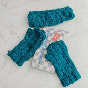 Bloomin' Comfy Mitts & Ear Warmer - Flatlay in Sapphire 1