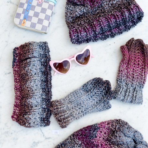 Bloomin' Comfy Set (Mitts & Ear Warmer, Beanie and Ponytail Hat) - Flatlay in Burgundy 1