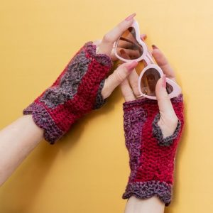Floral Kiss Mitts - Modeled in Bloom & Burgundy 1