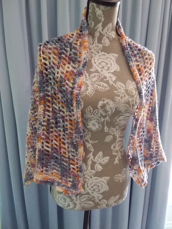 Spring in the Mountains Shawl - Great Southern Yarns 5ply - Rainclouds at Dawn - straight on manequin from front