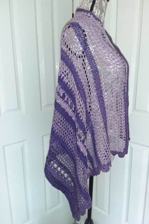 Spring in the Mountains Wrap - Purple Bobbel Boxx - flat on mannequin from side