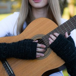 Nessa's Choice Mitts - Chunky Black Fingerless Gloves - on model, hands on guitar