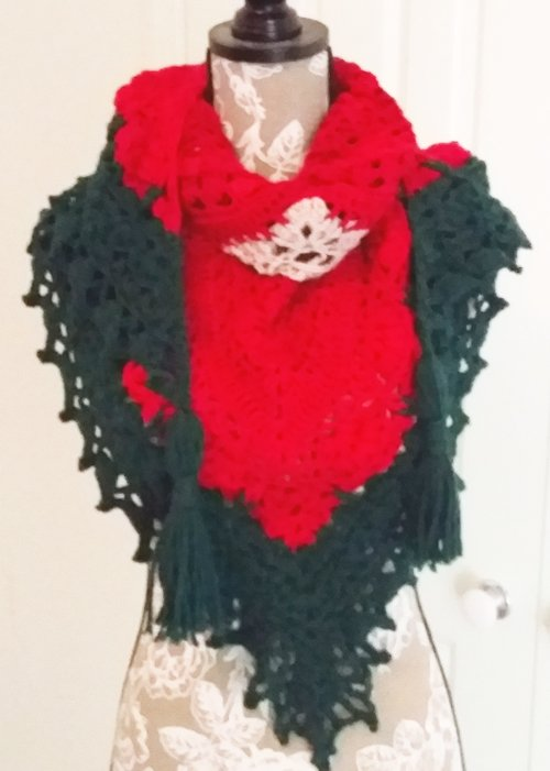 Continental Shawl - A thick triangle shawl in Red, Grey, Green, Bone - Full length of Front - triangle point at belly and rolled neck - available from MadeforYOUbyFi April 2021