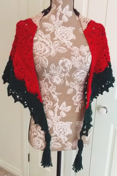 Continental Shawl - A thick triangle shawl in Red, Grey, Green, Bone - Full length of Front - with tassels hanging loose - available from MadeforYOUbyFi April 2021