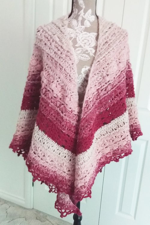 Journey Shawl - A thick triangle shawl in an ombre of cream, dusky pink and burgundy - From front - draped over shoulders - available from MadeforYOUbyFi April 2021